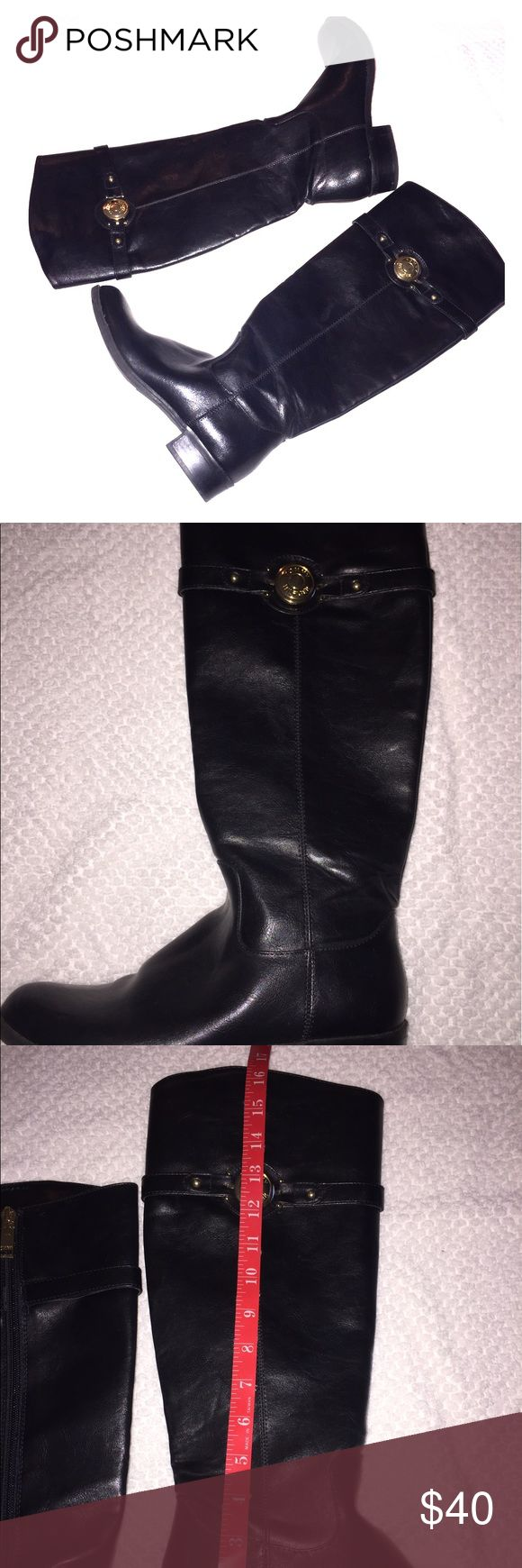 Tommy Hilfiger Boots Tommy Hilfiger knee high riding boots with Gold TH emblem. Worn only once. Size 6. Tommy Hilfiger Shoes