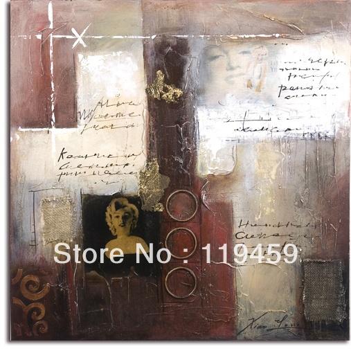 モンローの手が作った近代的な抽象的な油絵キャンバス壁アートインチ32×3280×80センチメートル枠なしなしストレッチャー