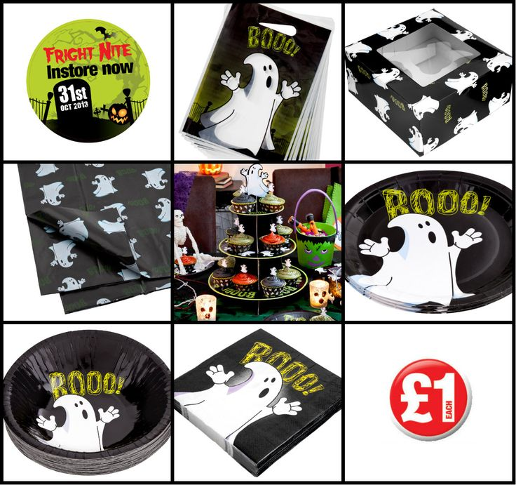 Poundland Halloween party decorations - We have some amazing Halloween party decorations and accessories to get the spookiest party started - check out our BOO! range this cute ghost design in cups, bowls, plates, loot bags, cake stand, cake box, table cloth is all themed to help you coordinate the best Halloween ever. #poundlandhalloween 2013