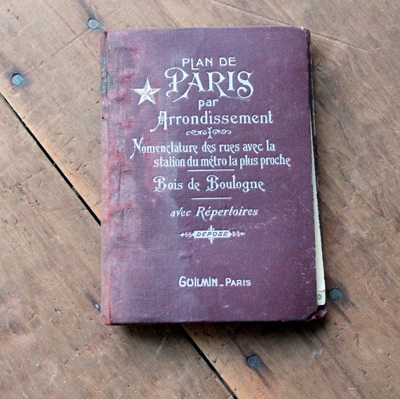 old book - vintage Paris map