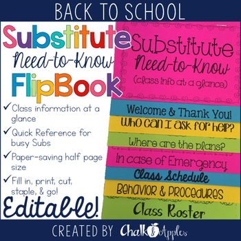 "Need-to-know info for substitutes at their fingertips!Now available in a money-saving bundle! Teacher's Helper Editable Flip Book Bundle___________________________________This flip book is an easy way to get important ""need-to-know"" information to a substitute entering your classroom."