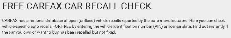 Car RECALL Check from CarFax