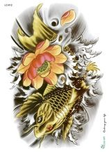 Temporary tattoos Waterproof tattoo stickers body art Painting for party event decoration black golden fish Wholesale //Price: $US $0.41 & Up To 18% Cashback //     #steampunktendencies