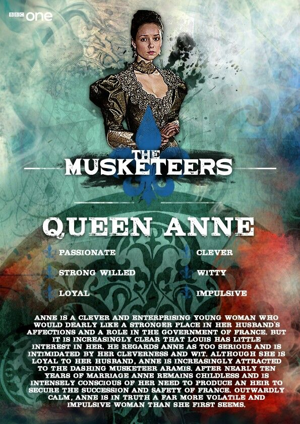 Queen Anne in BBC One's adaptation of The Musketeers