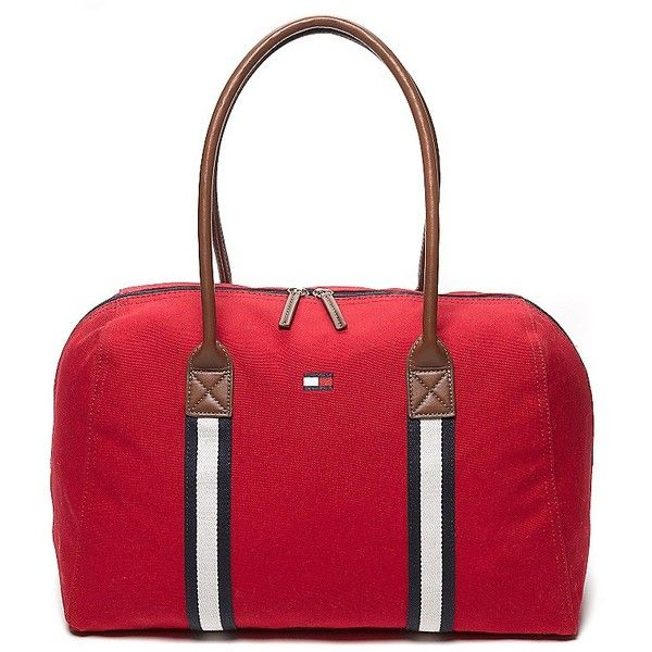 Tommy Hilfiger Weekend Travel Tote ($40) ❤ liked on Polyvore featuring bags, handbags, tote bags, red canvas tote bag, tote purses, handbags totes, travel purse and tote handbags