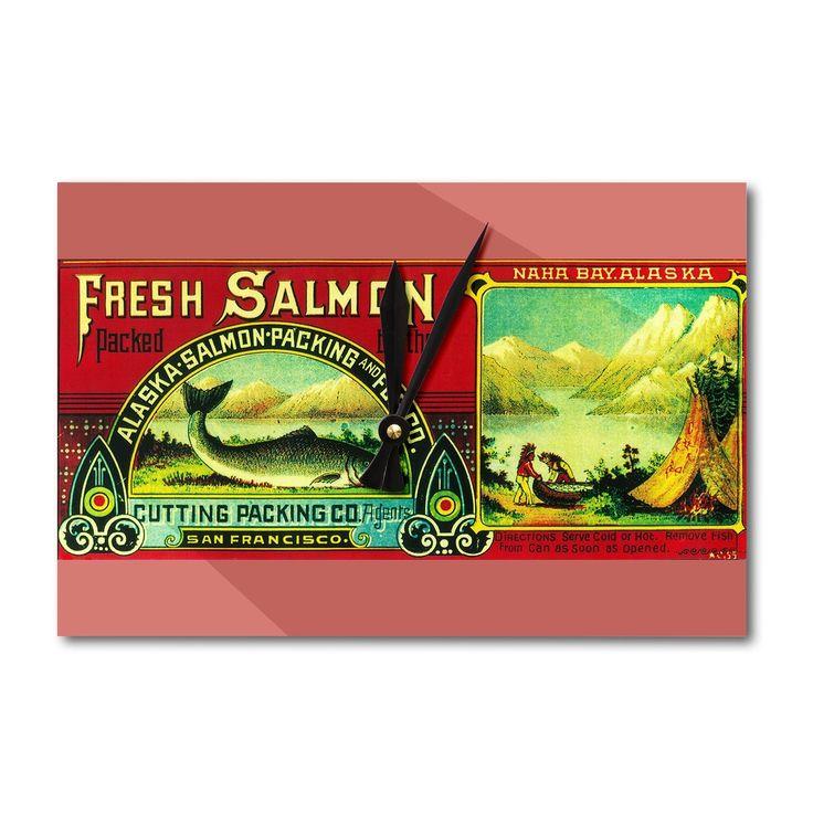 Naha Bay Salmon (Pink) Can - Vintage Label (Acrylic Wall Clock)