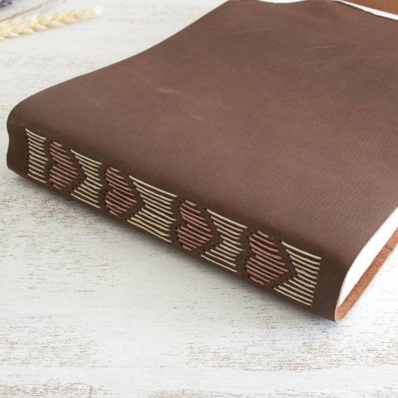 Wedding guest book, wedding album, memory book, scrapbook, rustic, leather bound journal, hand bound, hearts, sketchbook, notebook, diary