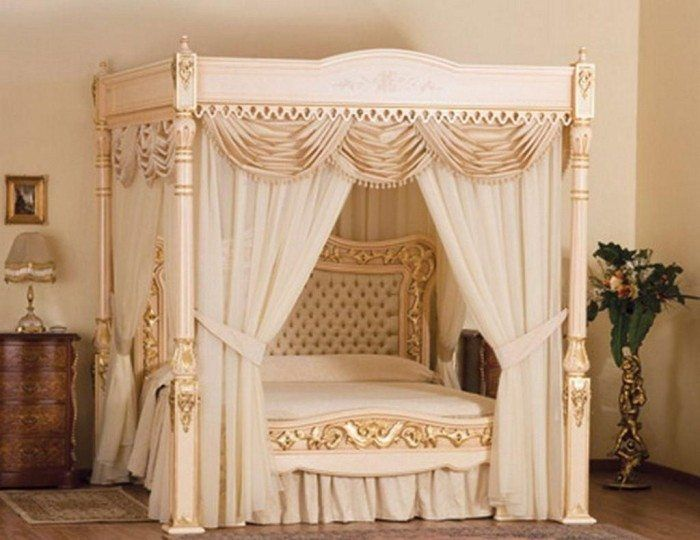 Luxury And Classy Beige Colored Canopy Bed With Beige Curtain As Well As Beige Bedding Set And Elegant Headboard
