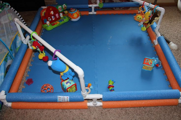 DIY baby play area made from PVC pipe, foam noodles and foam padding.  No directions, but pretty basic idea.