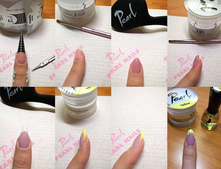 Molnár Rita mutatja meg a sárga színezett építő zselé használatát. :-)  1. Előkészítem a természetes körömlemezt 180-as reszelővel, használom a NailPrepet, Primert és az UltraBondot. Felviszek egy réteg BIO gélt, köttetés után felhelyezem a sablont mandula formának megfelelően. 2. Fiber X zselével alapot építek. 3. Cover Pink I. zseléből körömágyhosszabbítást készítek. 4. OP2 zselével körömágymagasítást végzek. 5. Fixálás után megreszelem a mosolyvonalat, kialakítom a C ívet. 6-7. Sárga…