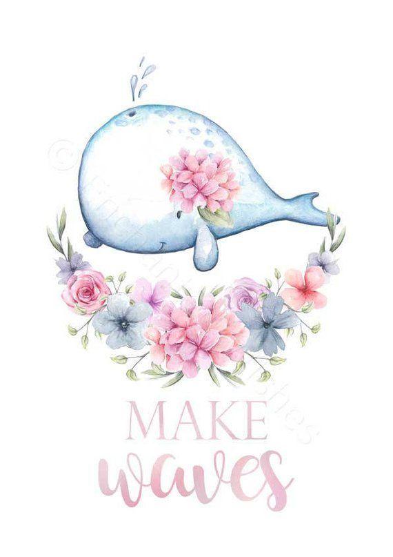 Girls Nursery Arctic Animals Prints Set, Arctic Nursery Wall Art, Floral Animal, Polar Bear Penguin Whale Narwhal, Girls Nursery Decor Art – #animal #…
