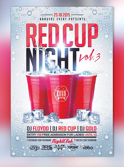 Free Download Red Cup Party Flyer Template Design Titi Get