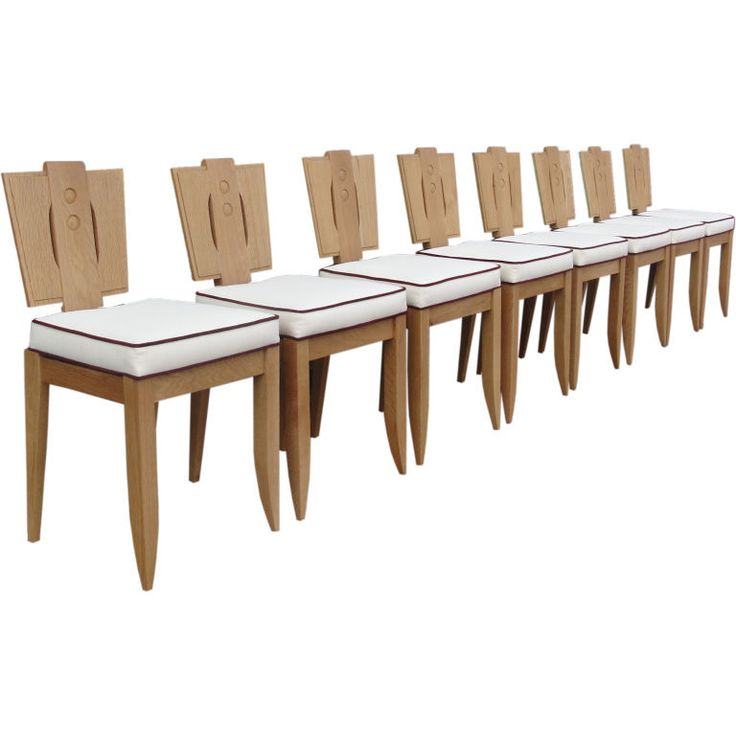Set Of Eight 8 Natural Finish Oak Deco Style Chairs