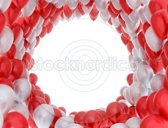 +stocknordica.com | red and white party balloons on white birthday card frame. http://www.stocknordica.com/image/red-and-white-party-balloons-on-white/