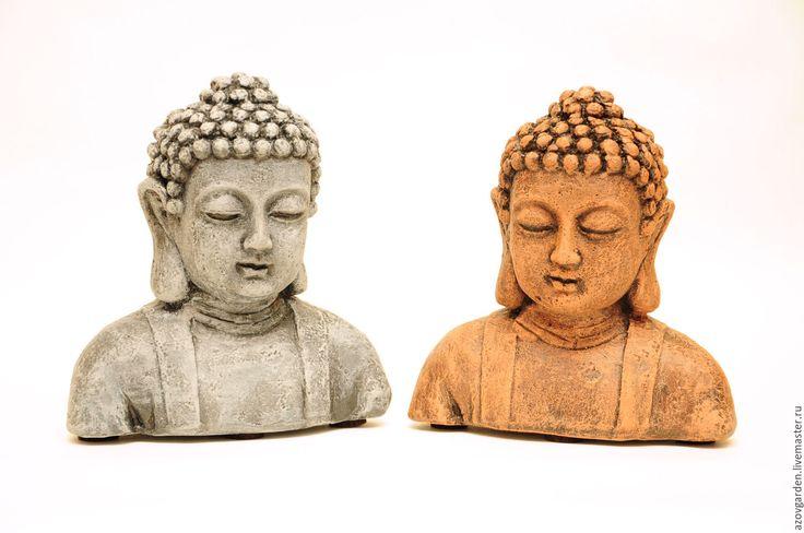 Купить Бетонный бюст Будды для декора интерьера и сада - серый, коричневый, терракотовый цвет, состаренный