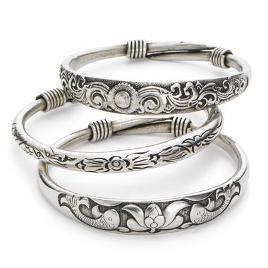 Silvery Bangle Bracelets - $15