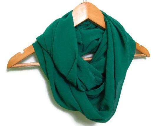 Emerald Green Chiffon Circle Scarf by dreamexpress on Etsy, $9.90