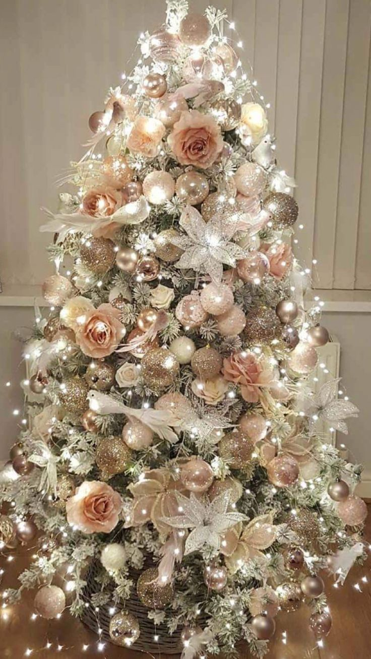 Rose gold blush pink a pretty combination christmas - Blush pink christmas decorations ...