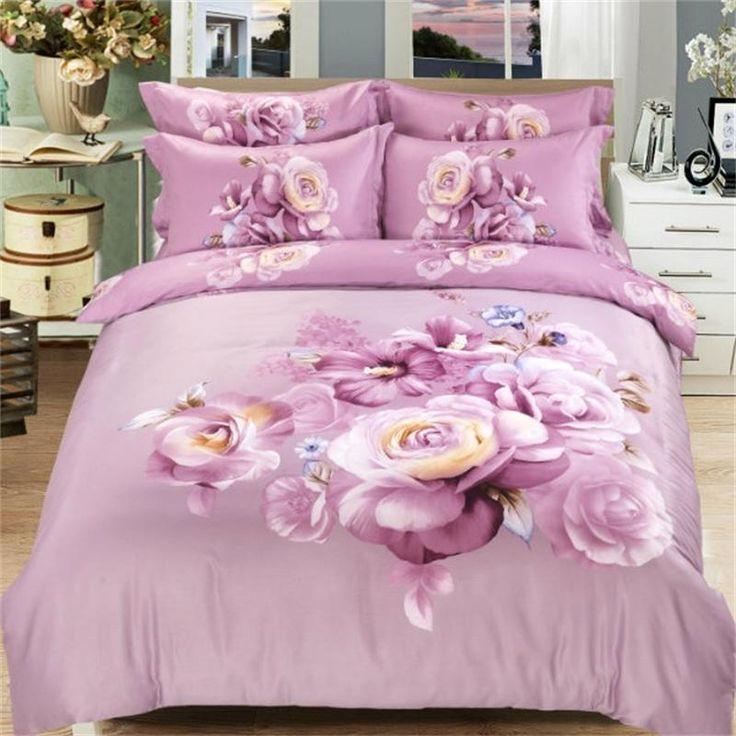 3D Floral Print Bedding Set Queen Size Cotton Duvet Cover Pillowcase Bedsheets Family Home Textile Bedroom Sets 4pcs for Sale
