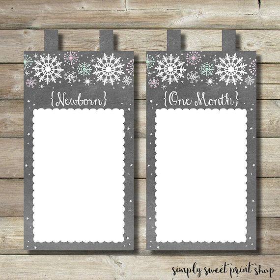 First Year Photo Picture Banner 12 Month Banner 4x6 Winter Onederland Snow Much Fun To Be One Girl Chalkboard Pink Mint Snowflakes Printable