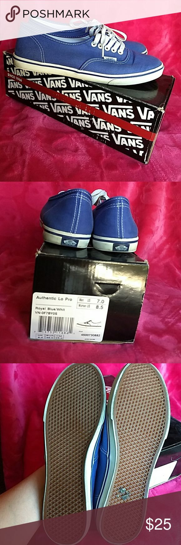 EUC Royal Blue Vans - Lo Pro Used blue vans. Low profile soles. Size 7 Mens/ 8.5 Women. Vans Shoes Sneakers