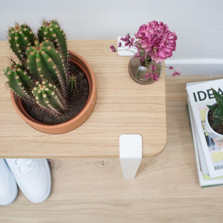 Banc végétal en chêne massif (plateau 90x28x3cm) créé à partir de 4 pieds blanc nuage 40cm permettant d'accueillir une grande plante Pablito -  Collab' TIPTOE x BERGAMOTTE