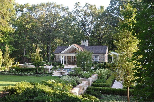 large backyard, amazing landscaping, stone pool house