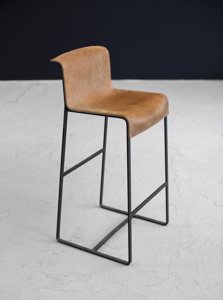 Camel Leather barstool with steel #barstoolcamelleather  Design by VanGijs, IN STOCK