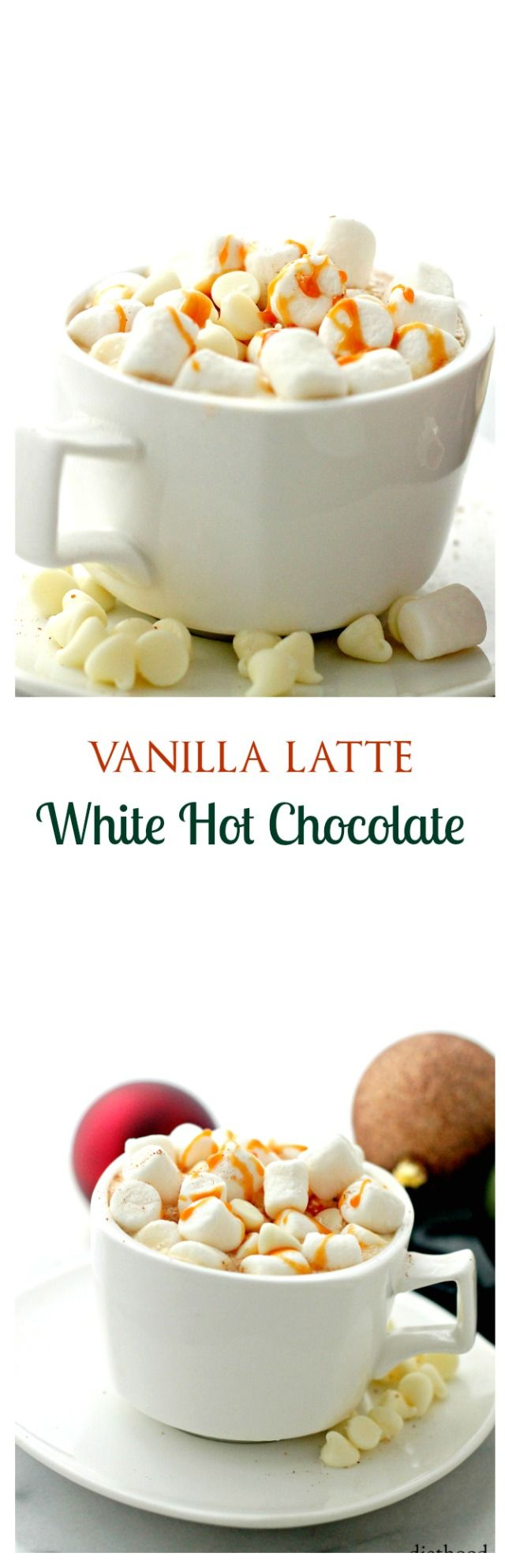 Vanilla Latte White Hot Chocolate | www.diethood.com | Delicious and homemade White Hot Chocolate mixed with a shot of espresso and vanilla.