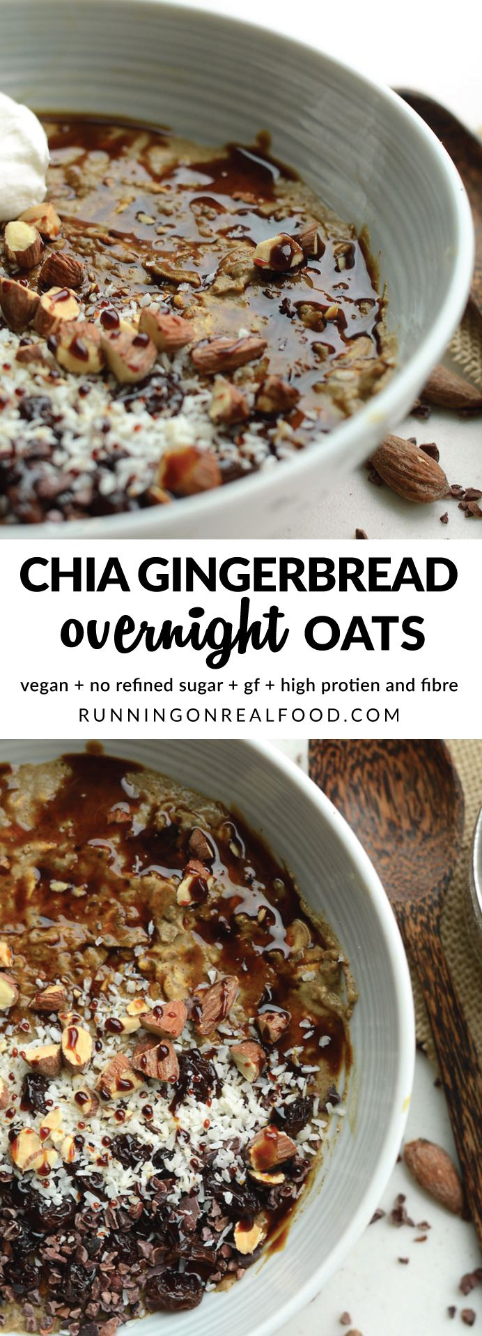 These incredible gingerbread overnight oats with protein and chia seed taste like gingerbread cookie dough! High in fibre and plant-based protein, healthy fats from chia seeds and energizing carbohydrates from oats and molasses. If you love gingerbread, you will love these overnight oats! Vegan, gluten-free, no refined sugar.  full recipe here: http://runningonrealfood.com/gingerbread-overnight-oats/