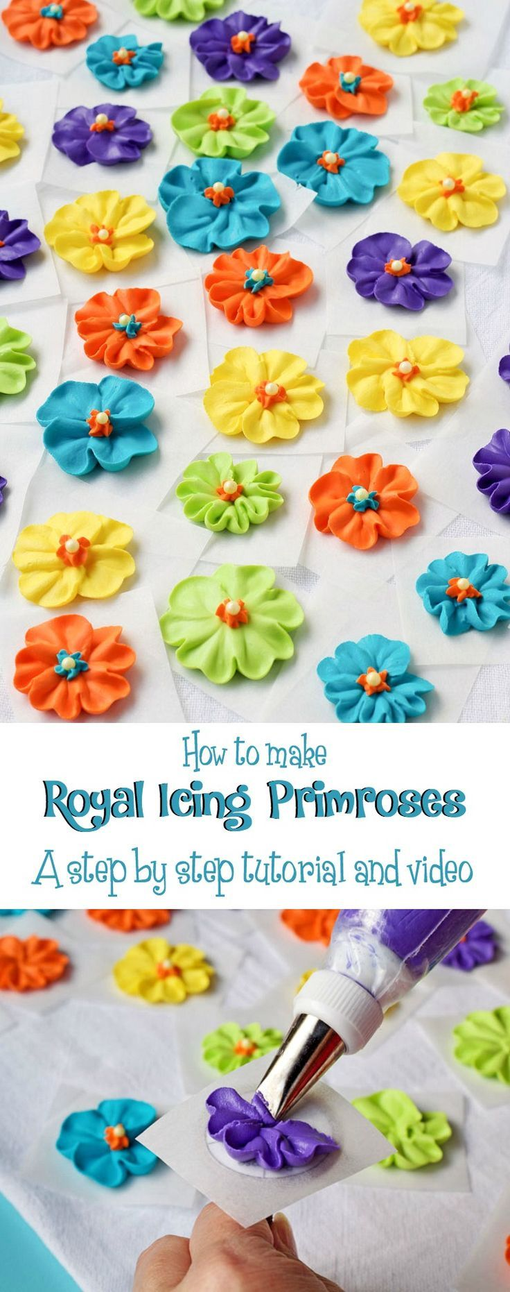 How to Make a Royal Icing Primrose with a Step by Step Video via http://www.thebearfootbaker.com