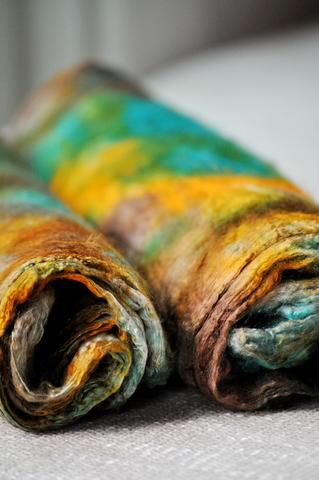 Dyeing Silk Hankies (Mawata)   – Felted creations