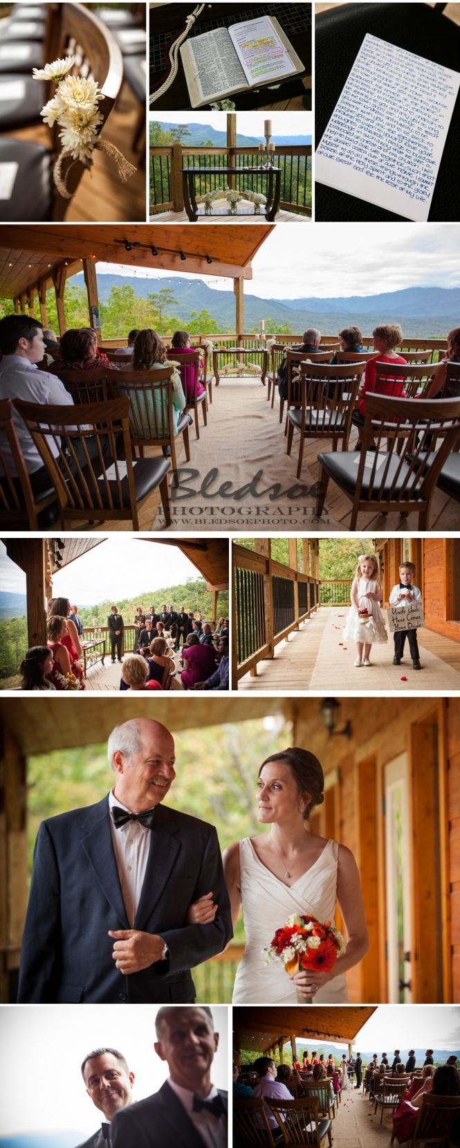 Wedding ceremony on cabin deck, Gatlinburg Mansion, mountaintop wedding photographer knoxville, classy Gatlinburg cabin wedding, fall wedding in Gatlinburg ©Bledsoe Photography