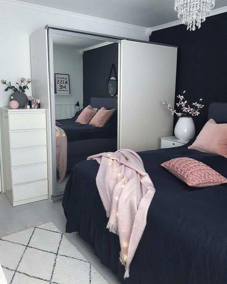 Navy Blue Pink White Cute Bedroom Idea Stylish Bedroom