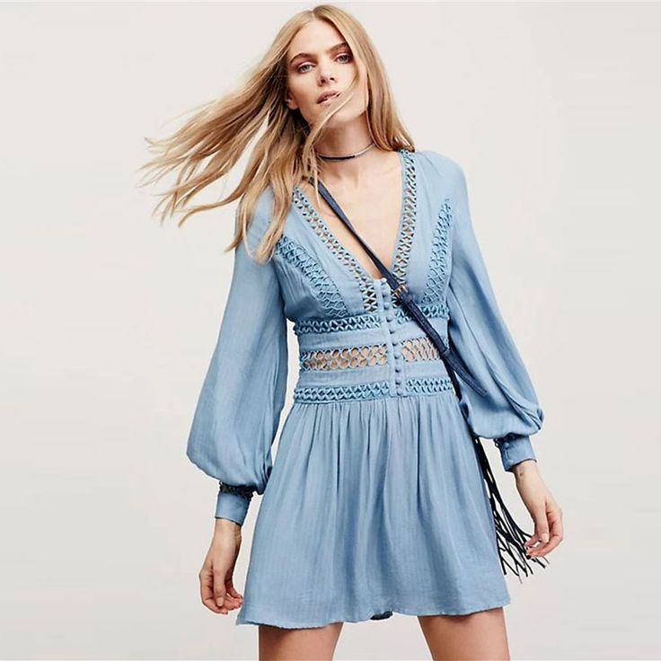 2017 New Fashion Deep V-neck Lantern Sleeve Hollow Out Beach Dress Casual Solid Color Backless Sexy Lace BOHO Dresses Vestidos