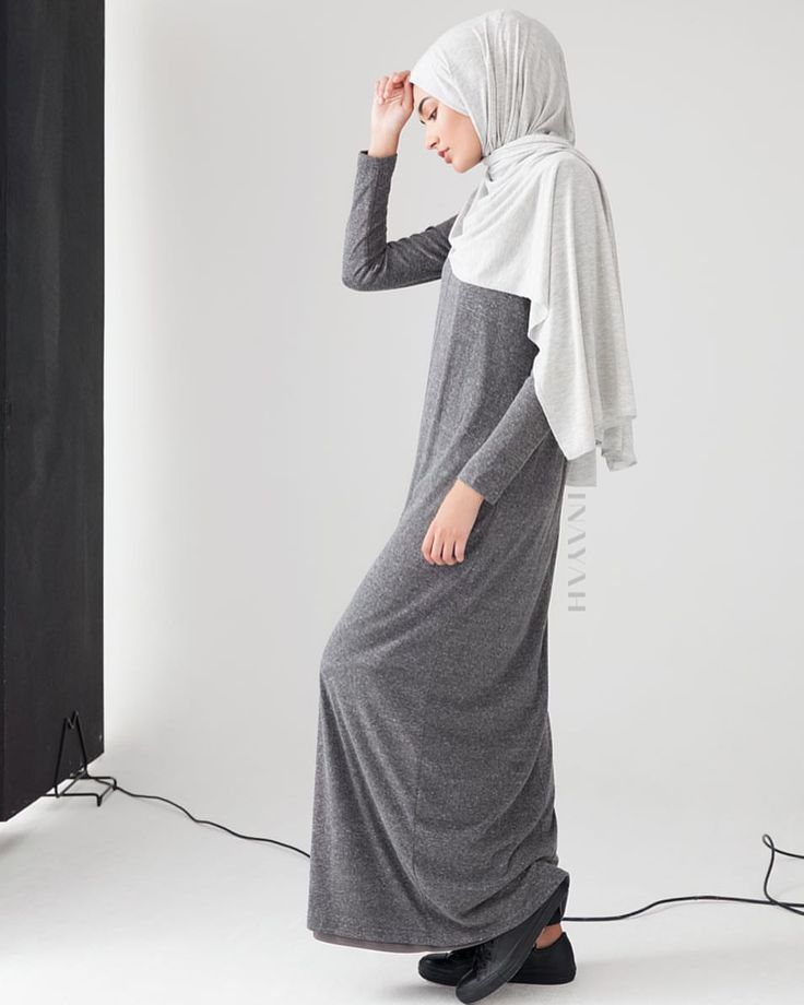 INAYAH | Midi or Maxi? Comment below... Grey Maxi with Seam Front + Light Grey Rayon Blend Jersey Hijab + Medium Nude Soft Cotton Scrunchy www.inayah.co