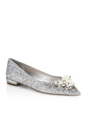fea62fb37688 MIU MIU Glittered Slip-On Ballet Flats.  miumiu  shoes  flats