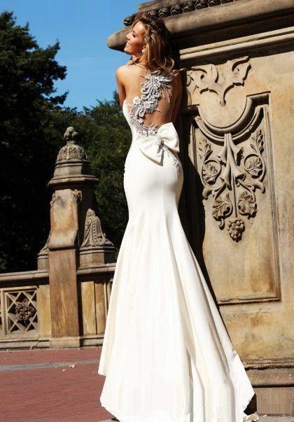 Ivory Mermaid Prom Dress Sheer Straps Long Beads Sheath Evening Dresses Wedding