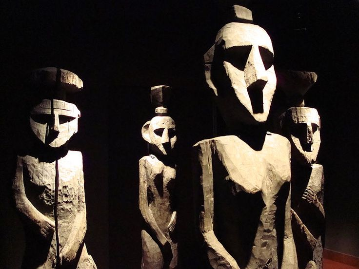 Wooden sculptures in the Museum of Pre-Columbian Art in Santiago, Chile. These are 19th century grave effigies carved by the local Mapuche indigenous people.