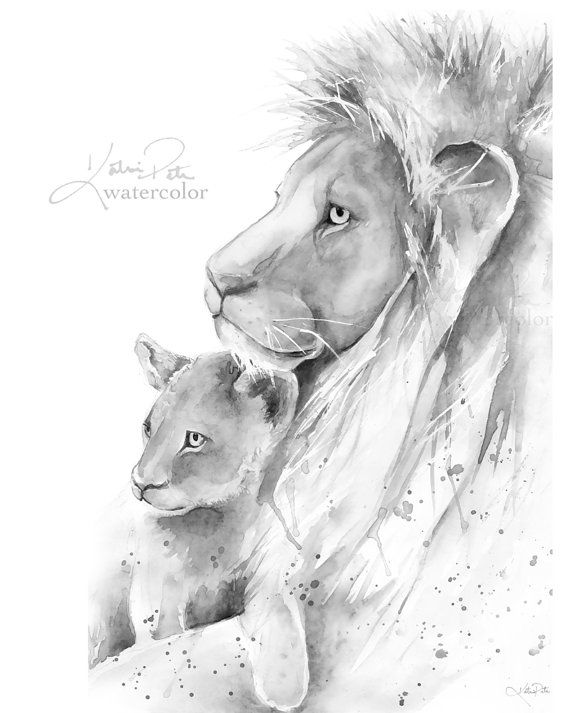 Lion Father and Cub watercolor print Father and son or father