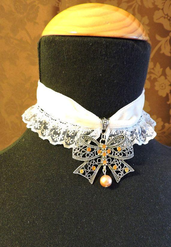 Gargantilla terciopelo,Gargantilla Victoriana, Colgante lazo, Joyería victoriana, Collar de boda victoriano, Gargantilla encaje,Collar perla