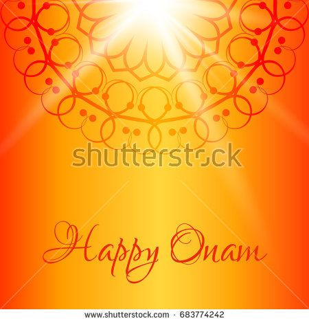 Happy Onam vector greeting card with orange background