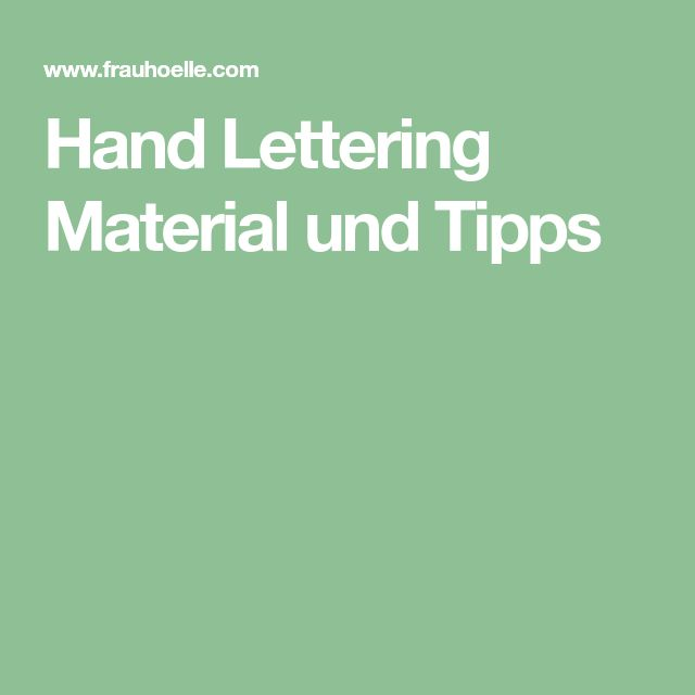 Hand Lettering Material und Tipps