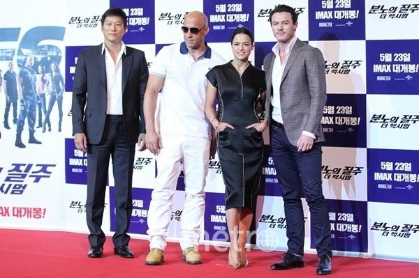13일 오전 영화 '분노의 질주: 더 맥시멈'의 기자회견이 주연배우인 빈 디젤, 미쉘 로드리게즈, 성강, 루크 에반스가 참여한 가운데 용산CGV에서 열렸다.