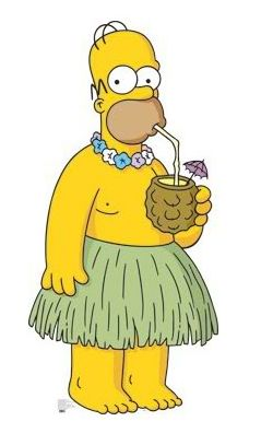 Homer Simpson Love's Hawaii