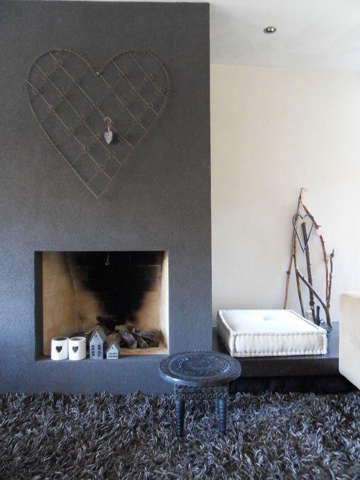 #grey rug and grey#fireplace