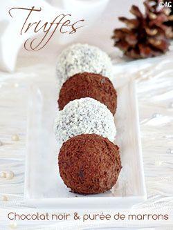 Mignardises : Truffes au chocolat noir & marrons