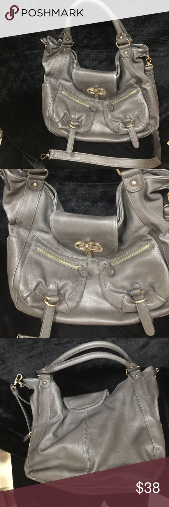 Melie Bianco Grey leather Shoulder Bag Satchel Like new condition, gold hardware, Satchel or shoulder option, very clean, hardware slight scuffs see photo. Melie Bianco Bags Shoulder Bags