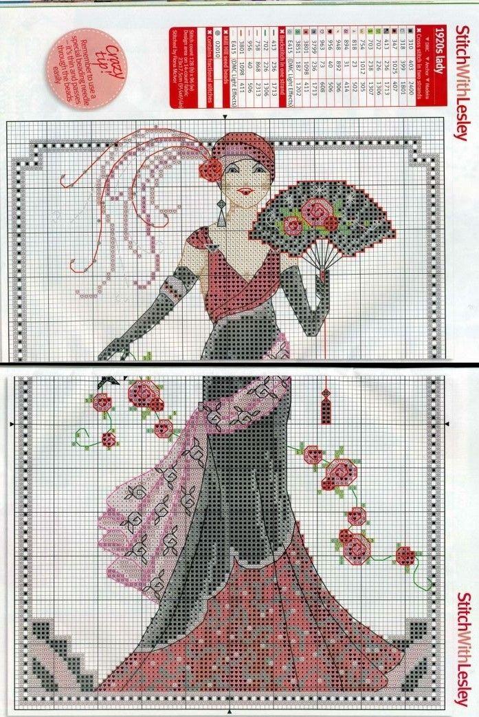 0 point de croix femme 1920 en rouge et noir - cross stitch lady 1920s in black and red 2