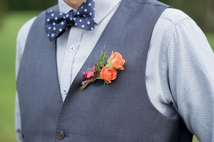 When styling your Groom, get creative! A polka dot bow tie along with a naturalistic boutonniere will bring pure elegance to his look.   http://mountainhouseonsundayriver.com/  #groom #boutonnniere #mhosr  Photo Credit: Lexi Lowell Photography